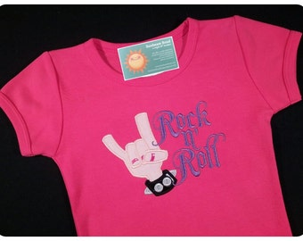 Girl's Rock 'n Roll Shirt with Spiked Cuff Rocker Chic Hot Pink
