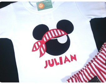 Boy's Pirate Shirt with Mouse Pirate and Embroidered Name