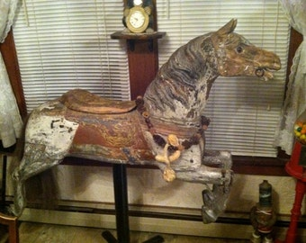 1899-ish Armtiage Herschell carved wooden track horse