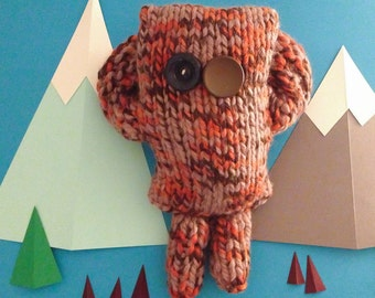 Britney the Yeti - plushie knitted monster with vintage button eyes