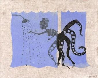 Octopus woman taking shower