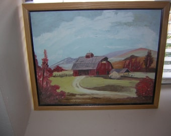 Oil Painting of a barn scene in a professional frame.