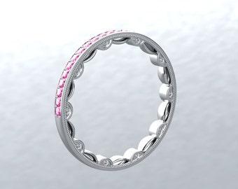 Pink Sapphire Diamond Eternity Wedding Band 14kt White Gold Round Pink Sapphire Genuine Diamonds Anniversary Band Modern Chic Love Inspired