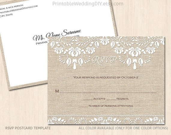 burlap and lace rsvp postcard template editable wedding. Black Bedroom Furniture Sets. Home Design Ideas