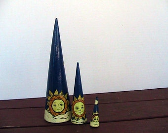 3pc.Vintage Set of Cone Nesters Navy with Sun and Clouds Home Decor Cottage Decor Sun Room Decor