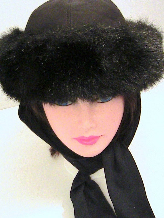 vintage womens faux fur winter hat attached scarf