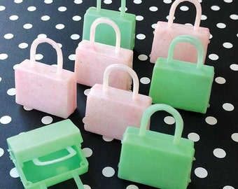 2 Vintage GREEN Handbags Purses Suitcases Miniatures Plastic Charms Doll Accessories