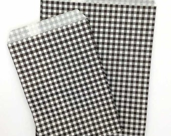 25 Party Bags Small or Medium Black Checks Paper Bags Favor Bags Gift Bags Loot Party Sacks - Two Sizes Small & Medium Gingham