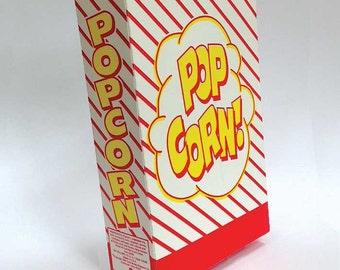 Retro Popcorn Box, Vintage Closed Top Treat Boxes (6 ct) SALE PRICED