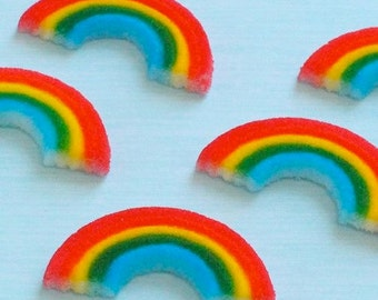 Rainbow Cake Toppers, Edible Rainbow Sugars (12), Cake Decorations, Cupcake Toppers, Rainbow Birthday, Rainbow and Unicorn Party Decor