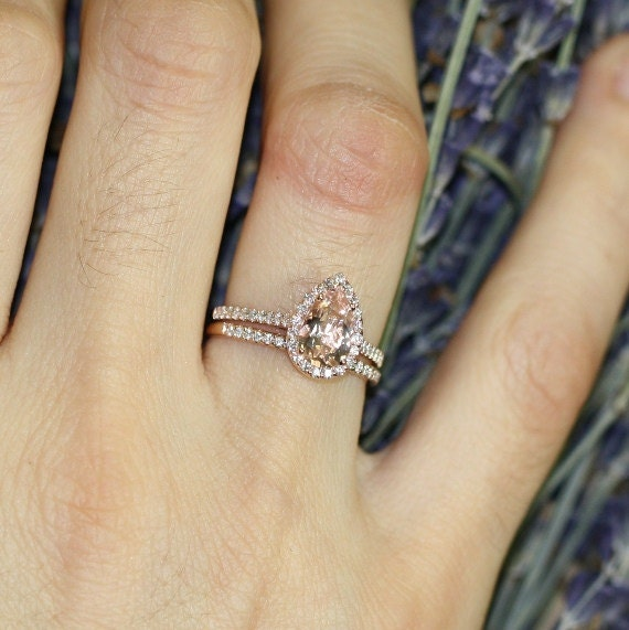 Items similar to Petite Diamond Morganite Wedding Ring Set in 14k