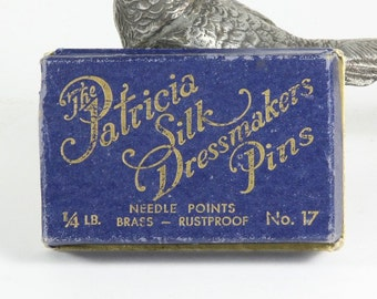 Vintage Silk Dressmakers Pin Box with Pins, 1920's
