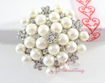 Wedding Brooch Pin, Bridal Brooch, Silver Tone Ivory Faux Pearl Pin, Rhinestone Crystal Brooch, Bridal Brooches , Wedding Brooch BR0009
