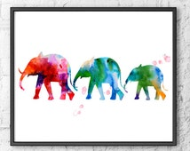 Elephant Watercolor Art, Animal Watercolor Painting Print, Elephant Wall Decor, Animal Art - 7