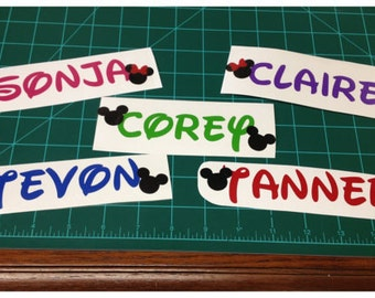 "Custom 1"" tall Disney Name Decals - any color"