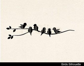 black birds clip art,birds vector,silhouette birds clip art, birds on the branch no.75,Svg, Eps, Png, Jpeg, AI, Dxf, Pdf instant download