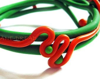 Bangle bracelet - Space summer - polymer clay handmade jewelry