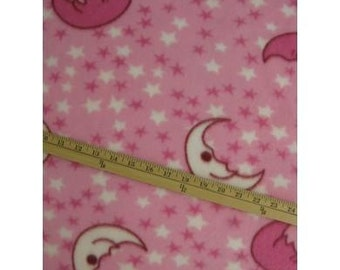 Moons and stars on Pink Fleece Fabric By The Yard
