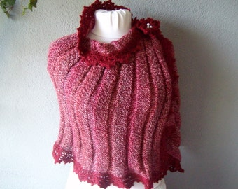 Knited Capelet Shrug , Bordo poncho  , Bordo capelet  AK 210