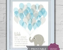 Baby Shower Keepsake Game PRINTABLE Art Print - Elephant and 30 Wishing Balloons in blue and grey