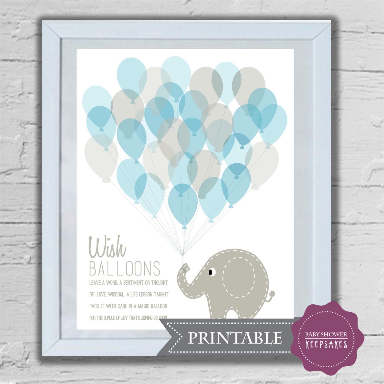 baby shower keepsake game printable art print elephant and