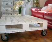 Coffee table white recycled pallet