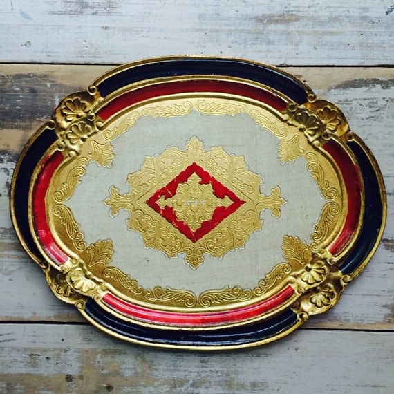 Italian Venetian Gilt Wood Tray, Perfect and Delightful