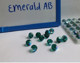 6mm Genuine Swarovski Emerald AB Crystal Art. 5000 Round Faceted Beads (12 pieces)