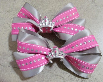SILVER CROWN PRINCESS Hair Bow - 4 inch boutique style with hand-painted resin center