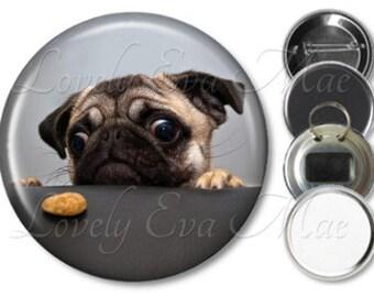 Chinese Pug Pocket Mirror, Magnet, Bottle Opener Key Ring, Pin Back Button
