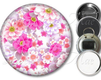 Japanese Pink & White Floral Pocket Mirror, Magnet, Bottle Opener Key Ring, Pin Back Button, Make up Mirror, Flowers Keychain, Fridge Magnet