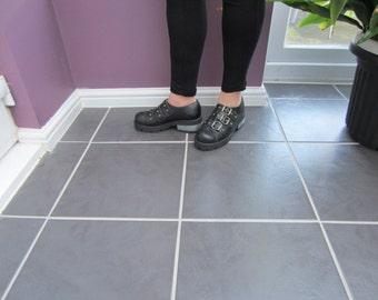Black Leather 3 Buckle shoe