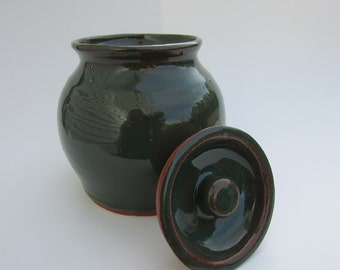 Adorable Wheel Thrown Ceramic Jar with Lid by Messy Girl Pottery