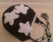 Crocheted Ear-Flap Beanie with stars - Newborn size and up