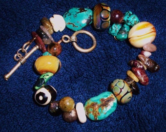 Tribal turquoise and bead bracelet