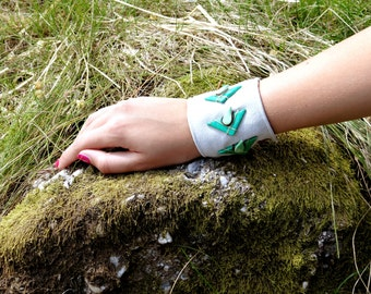 Handmade Upcycled Suede Leather and Polymer Clay Cuff.