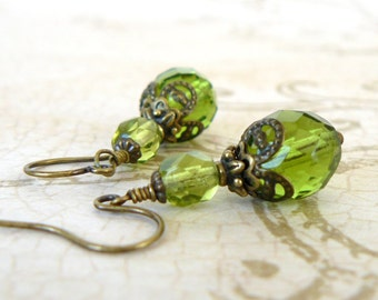 Vintage Inspired Olive Green Earrings, Lime Green Beaded Dangles, Romantic Jewelry, Green Bridesmaid Earrings, Wedding Party Jewelry