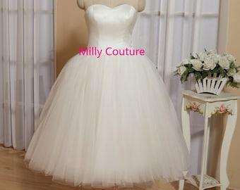 Tutu wedding dress, tulle wedding dress short, 1950 dress 50s wedding, tea length wedding dress sweetheart neck, vintage wedding dress
