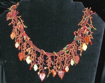 Autumn Garden Necklace, made from Czech Glass Seed Beads, Faceted Beads and Leaves.
