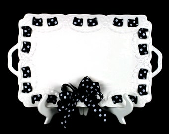 Decorative Tray with Handles ~ Ribbon Plate ~ Serving Platter ~ No Monogram ~ Housewarming ~ Hostess ~ Wedding Gift