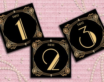 Great Gatsby Art Deco Table Cards 1-60, Table Numbers, Table Decoration -  1920's, 20's Style - Black and Gold - Instant Download