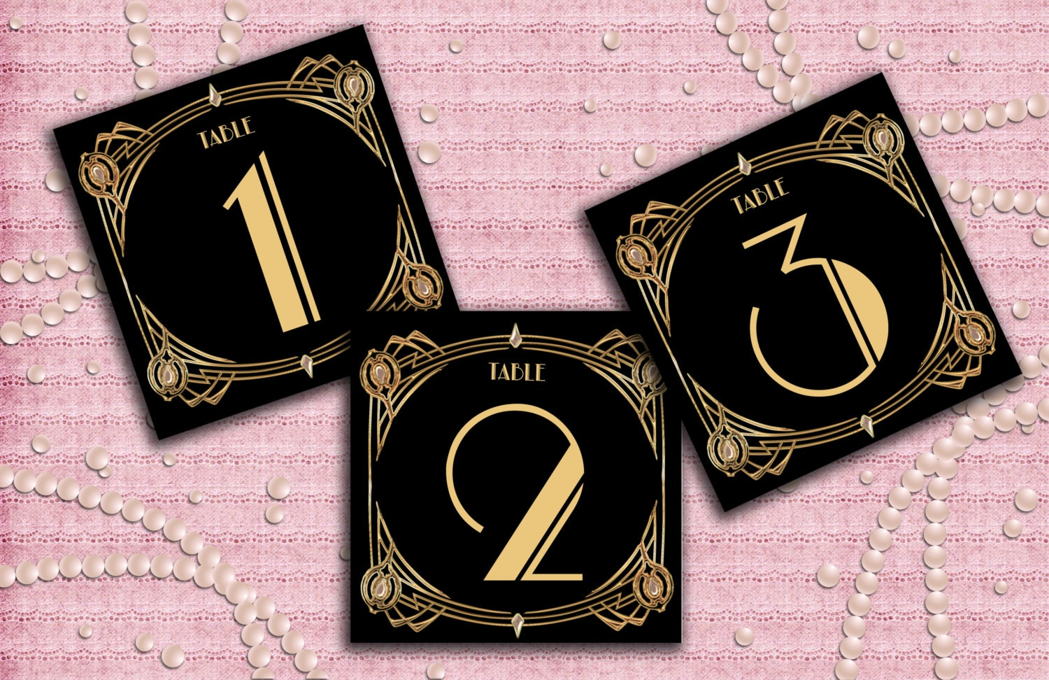 Great Gatsby Art Deco Table Cards 1 50 Table Numbers Table