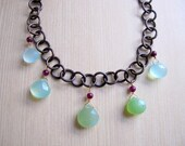 Green Gemstone Necklace, Chalcedony Briolettes, Briolette Necklace