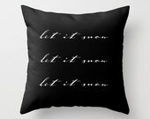 Velveteen Pillow - Christmas Pillow - Let It Snow Pillow - Holiday Decorations - Modern Decorations - Black & White - Christmas Decorations