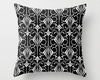 Velveteen Pillow - Black Silver White - Art Deco Pillow - Great Gatsby - Decorative Pillow - Accent Pillow - Art Deco Decor - 20's