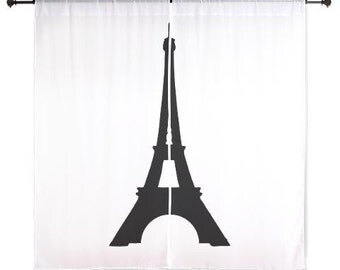 Bedroom Curtains, Eiffel Tower, Chiffon Curtains, Paris Bedroom Decor, Girls Curtains, Dorm Decor, Teen Girl Room Decor, Black and White