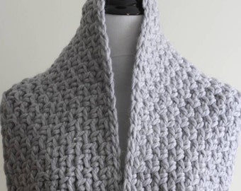 Chunky knit scarf, Dove Grey, soft knitted scarf, 50% wool, cozy softness, Hand knit scarf, available in 16 colors