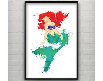 Litttle Mermaid Painting Art - Little Mermaid 11x17 Print - Painting Inspired Art Ariel from The Little Mermaid Poster Print