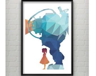 BioShock Polygon Print - Bioshock 11x17Polygon Print - Bioshock Video Game Poster - Bioshock Video Game Art - Gamer Gift