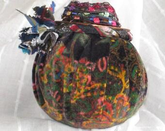 Pincushion, upcycled necktie ,unique pincushion , upcycled yarn pincushion , hand made pincushion , OOAK pincushion, handmade gift